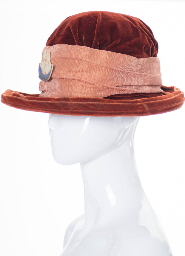 Edwardian Vintage Hat with Ship Medallion - Dressing Vintage