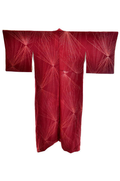 Vintage burgundy silk kimono with starbursts