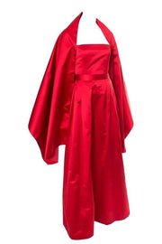 Vintage red silk satin evening gown with matching shawl or wrap