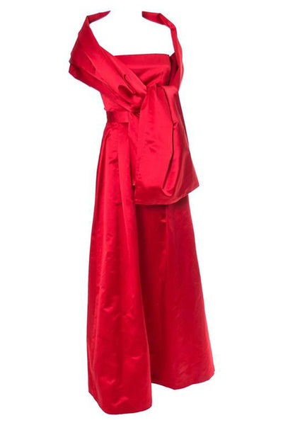 Vintage Utako 1990's silk satin red evening gown