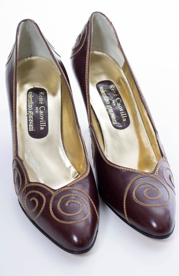 Vintage Rene Caovilla for Valentino Garavani brown leather shoes 8.5 - Dressing Vintage