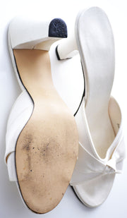 Daniel Green Vintage Ivory Satin Hostess Slippers Wedding Shoes 8 M - Dressing Vintage