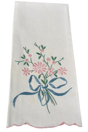 Madeira Vintage set of 4 NEW linen hand towels I Magnin bouquet - Dressing Vintage
