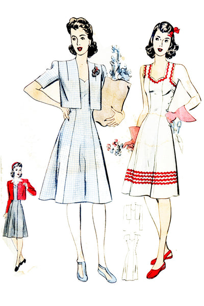 1940s Hollywood 1154 Wartime Vintage Pattern Jumper Dress Bolero - Dressing Vintage