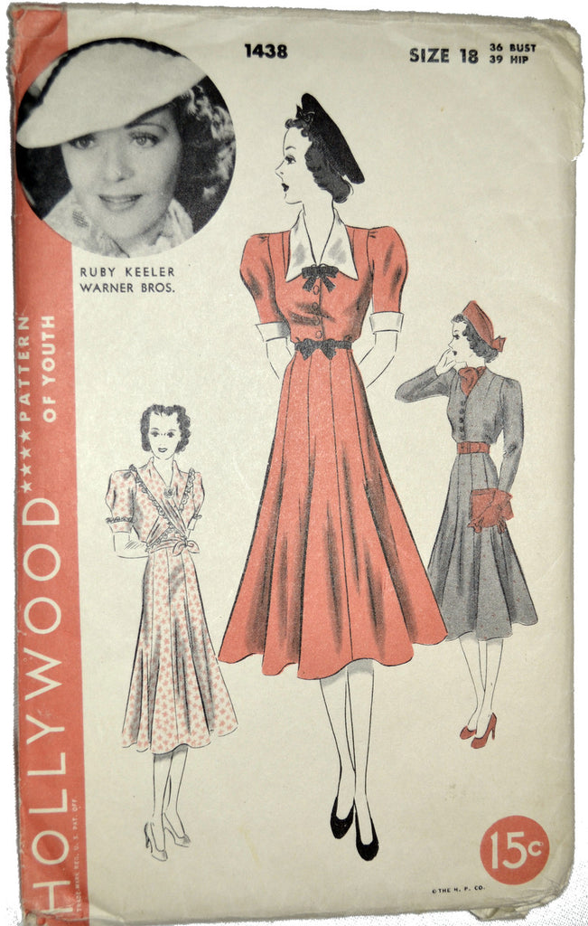 Hollywood 1438 vintage sewing pattern 40s Ruby Keeler dressses 36B - Dressing Vintage