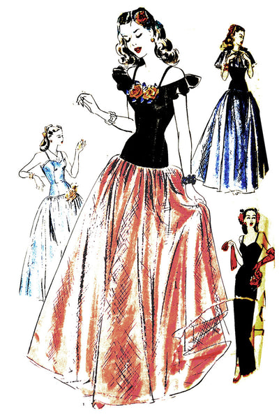 1940s Vintage Hollywood 1501 Uncutl Evening Dress Pattern 32B - Dressing Vintage