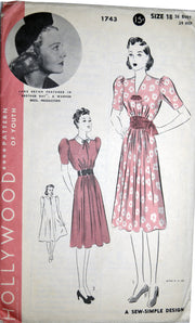 Vintage Hollywood 1743 Jane Bryan dress pattern unused 36B - Dressing Vintage