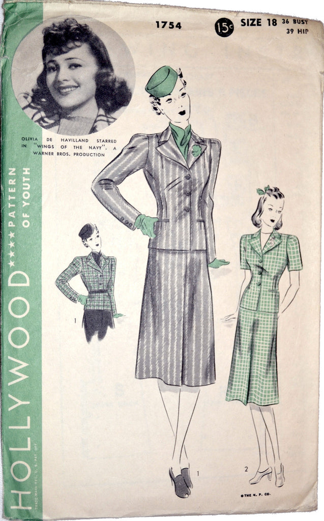 Vintage Hollywood 1754 pattern Olivia de Haviland sewing