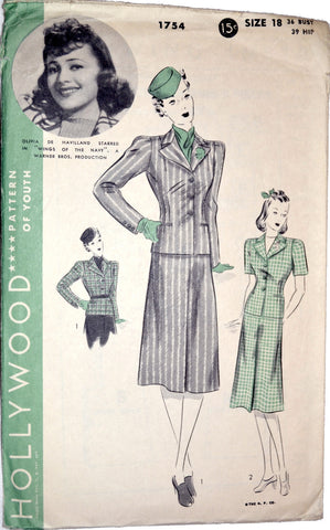 Hollywood 1754 vintage pattern Olivia de Haviland suit 36B - Dressing Vintage