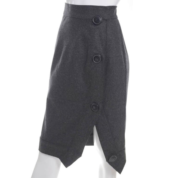 Vivienne Westwood Anglomania Vintage Gray Wool Avant Garde Skirt with Asymetrical Seams and Large Buttons
