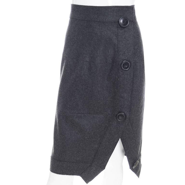 90's Vivienne Westwood Anglomania Gray Wool Avant Garde Skirt with Asymetrical Seams and Large Buttons