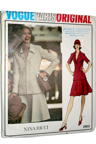 Nina Ricci Vogue 2903 Paris Original 1976 Sewing Pattern