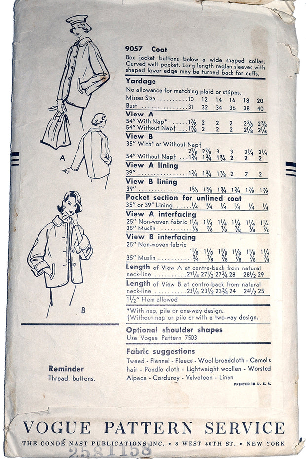 1950s Vogue Pattern for jacket