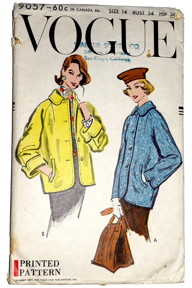 Vogue 9057 Vintage Jacket Pattern 1957