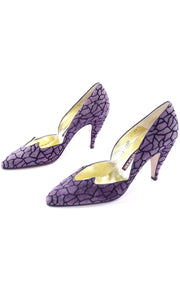 Purple Suede Walter Steiger Abstract Vintage Shoes Heels