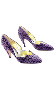 Rare Purple Suede Walter Steiger Abstract Vintage Shoes Heels