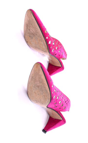 1980s Walter Steiger Pink Vintage Sling Back Shoes Star Cut outs