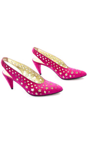 Pink Walter Steiger Vintage Sling Back Shoes Star Cut outs