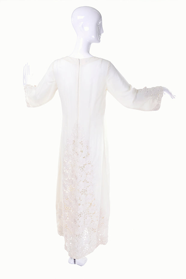 1970's vintage wedding dress cotton white maxi dress