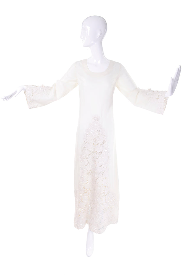 Boho 1970's lace wedding dress