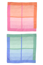Set of 2 Sherbert Colored Plaid Cotton Scarves in Blue/Green and Pink/Orange
