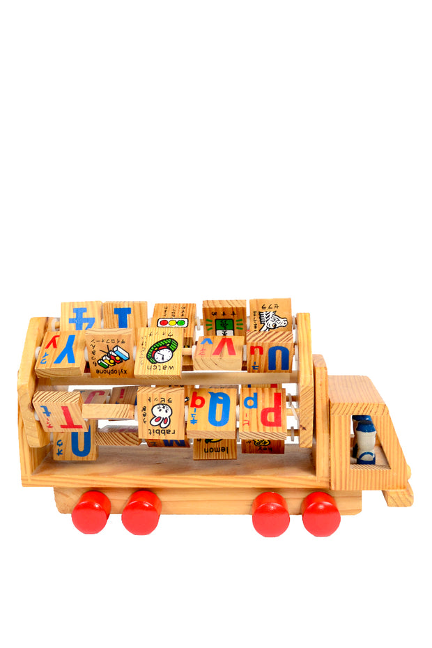 Wooden Japanese English Learning Kids Truck