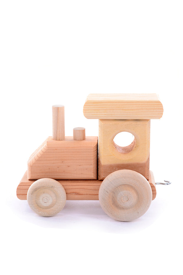 Vintage Classic Natural Wood Train Set w/ 5 Linking Cars