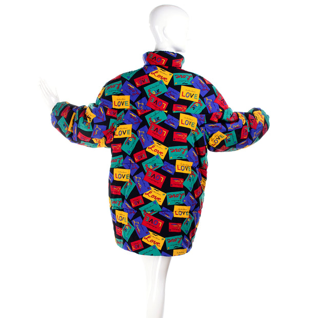 Yves Saint Laurent Reversible Puffer Coat Black/Colorful Love Cards Print