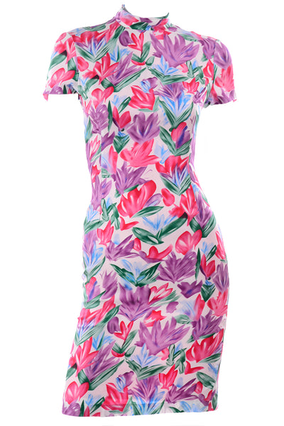 Yves Saint Laurent Abstract Tulip Print Silk Sheath Dress 4/6