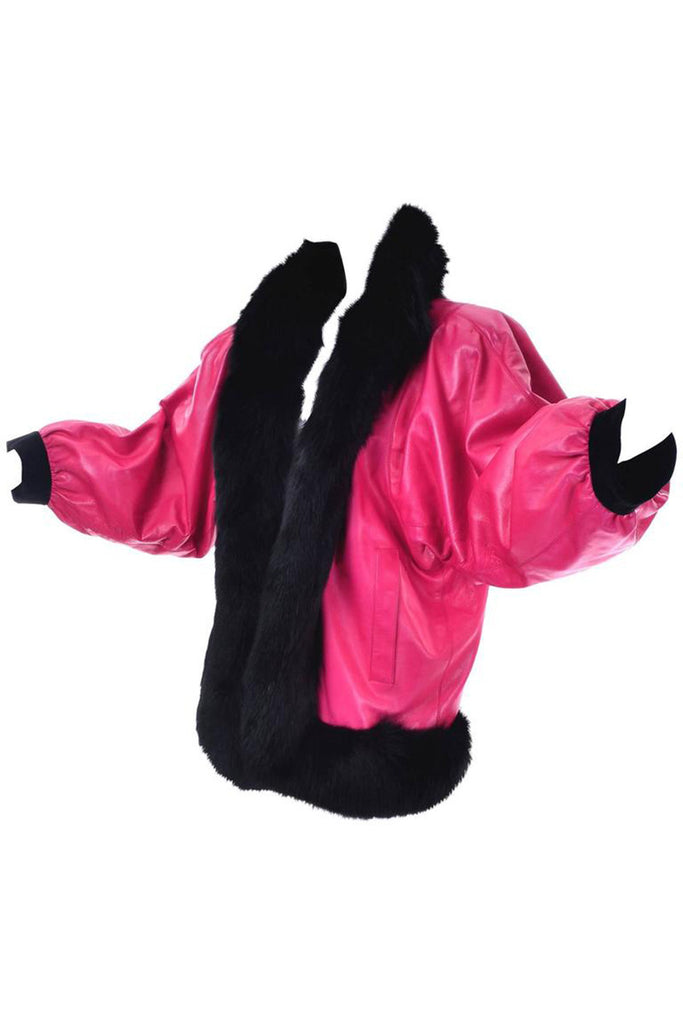 1980s Yves Saint Laurent Pink Leather Oversized Jacket with Black Fur Trim