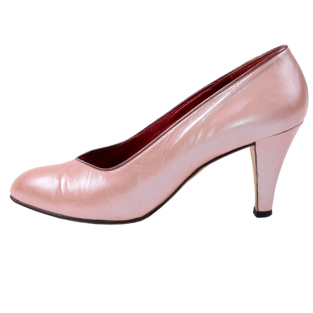"70s Yves Saint Laurent Vintage 7.5 Pink Opalescent YSL Shoes w 3"" Heels"