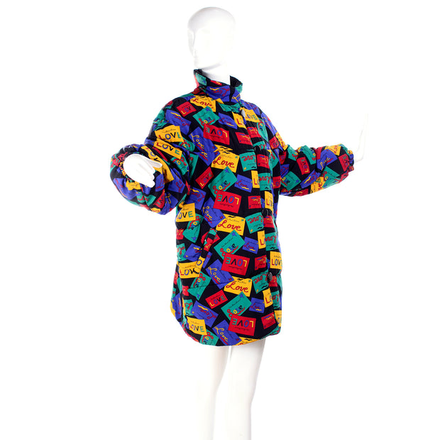 1980's multi-colored YSL LOVE puffer coat