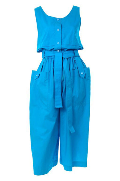 Yves Saint Laurent YSL Vintage Blue Cotton Jumpsuit W Pockets & Belt w Tags