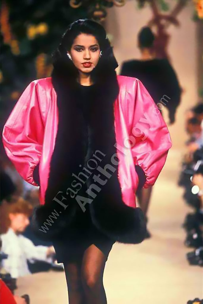 Documented Haute Couture F/W 1987/88 Yves Saint Laurent YSL Pink Leather Jacket with Black Fox Fur Trim size Medium