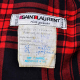 1970s Yves Saint Laurent Rive Gauche Vintage Dress and Cape Black with Red Tartan Lining