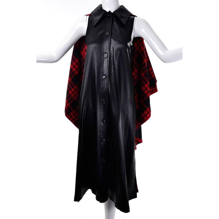 1970s Yves Saint Laurent Vintage Waistcoat Dress and Cape Black with Red Tartan Lining Size 38 or US size 6