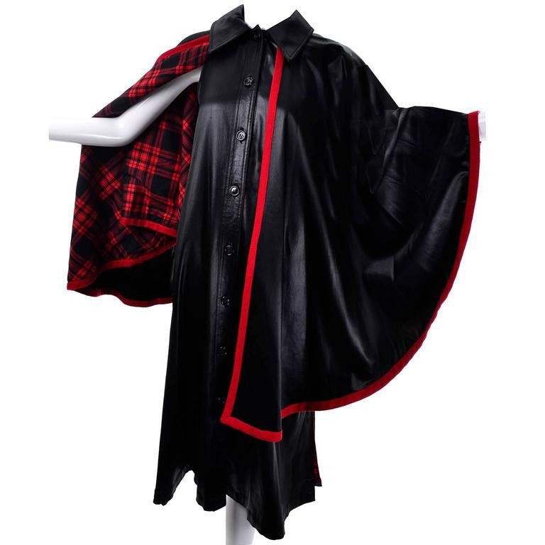 1970s Yves Saint Laurent Vintage Dress and Cape Black with Red Tartan Lining 38