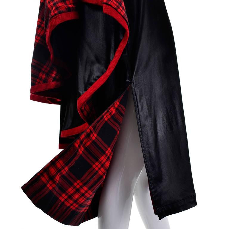 70s Yves Saint Laurent YSL Vintage Dress and Cape Black with Red Tartan Lining
