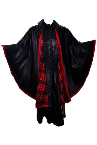 1970s Yves Saint Laurent Vintage Black Dress and Cape with Red Tartan Lining