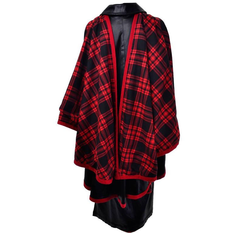 1970s Yves Saint Laurent Vintage Sleeveless Button Down Dress and Cape Black with Red Tartan Lining 38