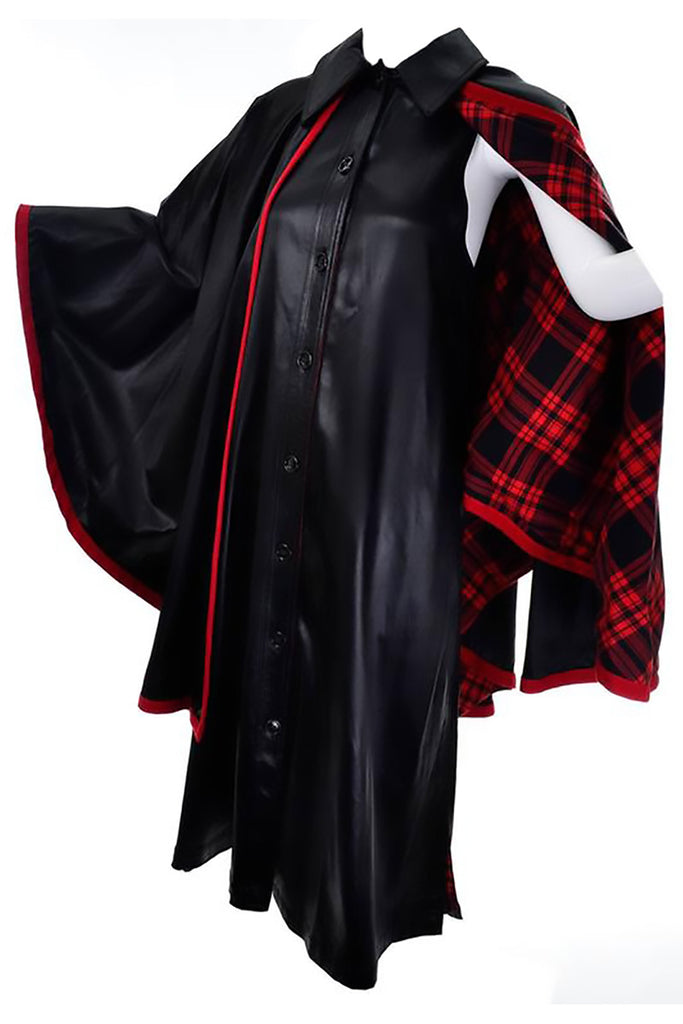 1970s Yves Saint Laurent Vintage Dress and Cape Black with Red Tartan Lining