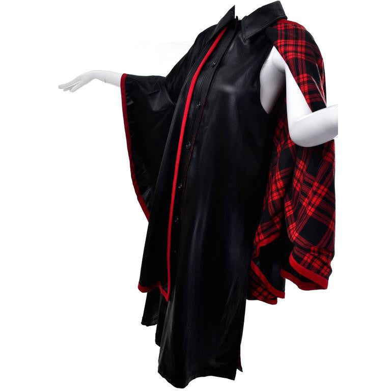 1970s Yves Saint Laurent Vintage Women's Waistcoat Dress and Cape Black with Red Tartan Lining