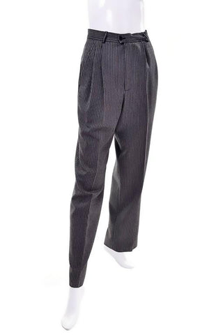 Yves Saint Laurent YSL Pinstriped Wool High Waisted Vintage Pants 2/4