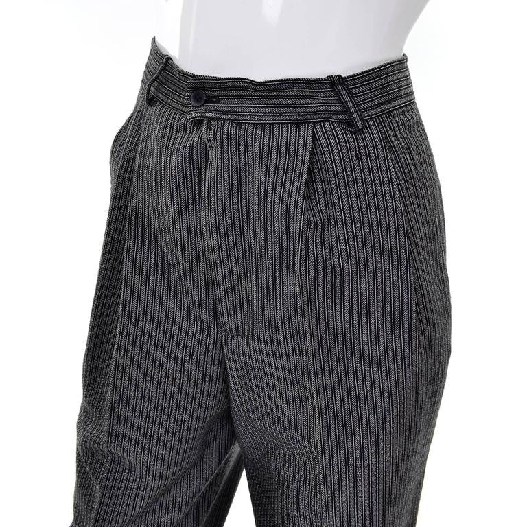 Pleated Vintage YSL Pinstripe Gray and Black Trouser Pants
