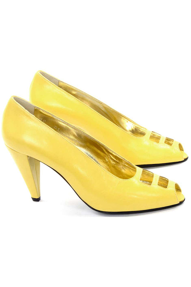 1980s Escada Yellow Vintage Shoes Peep Toe Unworn Heels 7.5