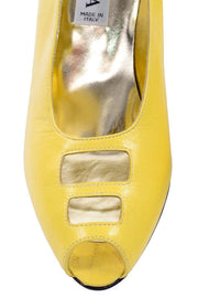 80s Escada Yellow Vintage Shoes Peep Toe Heels unworn 7.5AA