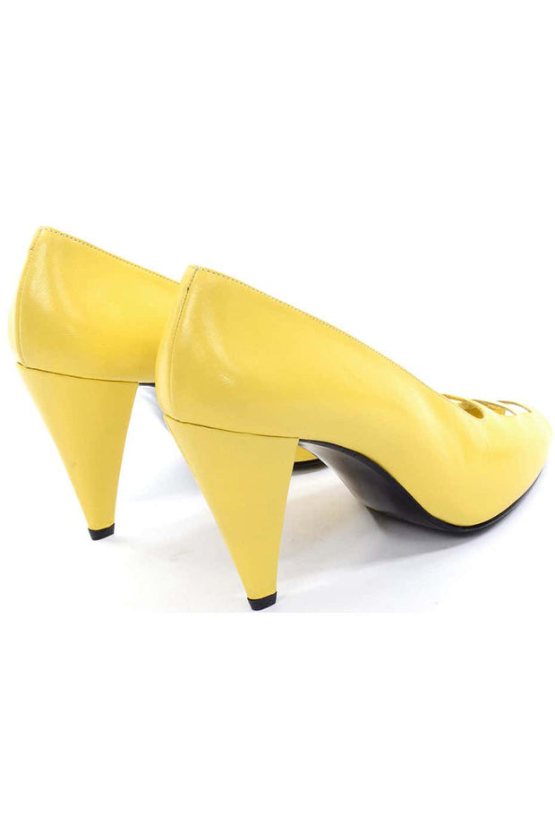 Unworn 1980s Escada Yellow Vintage Shoes Peep Toe Heels  7.5AA