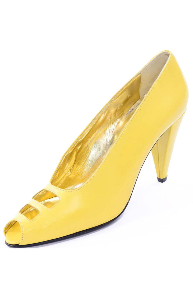 80s Escada Yellow Vintage Shoes Peep Toe Heels Never Worn 7.5AA