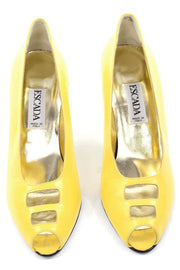 1980s Escada Yellow Vintage Shoes Peep Toe Heels New 7.5AA