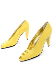 New 1980s Escada Yellow Vintage Shoes Peep Toe Heels Never Worn 7.5AA